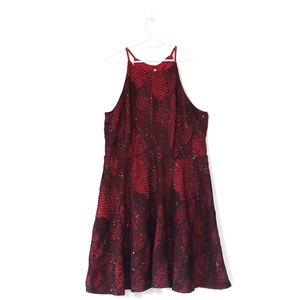 Red Spaghetti Strap Sequin Dress, Size 3X